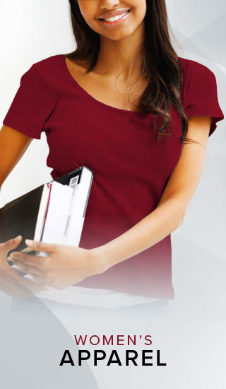 Picture of a smiling woman holding textbooks. Click to shop Women's Apparel.